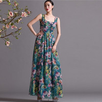 Green Red White Floral Print A-line Maxi Dress Full Pleated Skirt Bohemian Wedding Bridesmaid Holiday Prom Party Evening Event Ball Gown