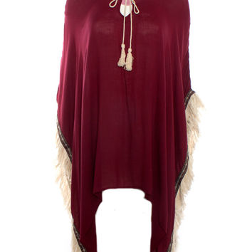 On The Road Cape With Fringe Detail (Garnet)