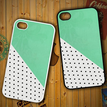Polkadot mint green F0578 LG G2 G3, Nexus 4 5, Xperia Z2, iPhone 4S 5S 5C 6 6 Plus, iPod 4 5 Case
