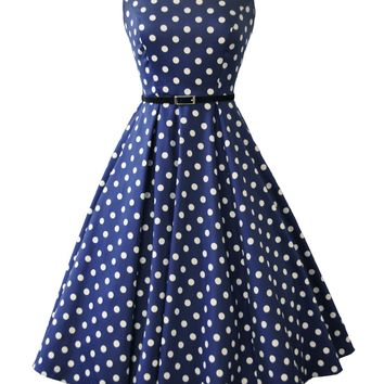 Navy Polka Dot Hepburn Dress