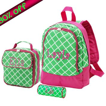 Monogrammed 3 Piece Pre-K Backpack Set in Hot Pink and Lime Green