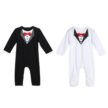 Baby Romper Infant Toddler Boys Gentlemen Clothes Bowknot Long Sleeve Cotton Rompers Body Clothing Jumpsuit