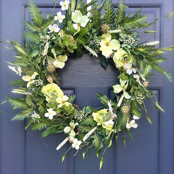 Spring Green Wreath Lime Green Fern Wreath Pretty Door Wreaths Summer Decor Green