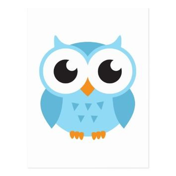 Cute blue cartoon baby owl postcard
