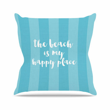 "Sylvia Cook ""Beach is My Happy Place - Blue"" Aqua Typography Outdoor Throw Pillow"