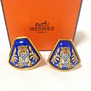 MINT. Vintage Hermes cloisonne golden earrings with tiger design in blue. Fan shape. Great gift idea