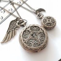 His and Hers Pocket Watch necklace - wing charm- antique bronze -CROSS