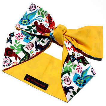Vintage Inspired Head Scarf, Bright, Yellow, Colorful, Animal, Retro