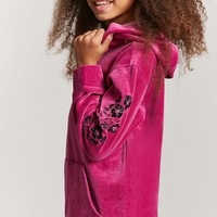 Girls Floral Embroidered Hoodie (Kids)