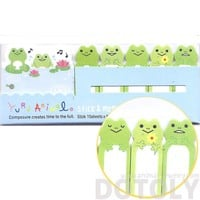 Green Frog Toad and Lily Pad Illustrated Cute Memo Post-it Index Tab Sticky Bookmarks