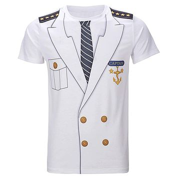 Men's Captain Costume T-Shirts Funny Cosplay Halloween Tee Adult Man Top Cowboy Pirate Clown Pilot Uniform Carnival 3D Plus Size