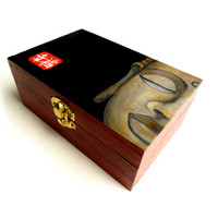 Buddha Jewelry Box - Wooden Buddhist Jewelry Box - Buddhist Boxes - Hand Painted Storage Box- Buddhas Face - Moments of Zen
