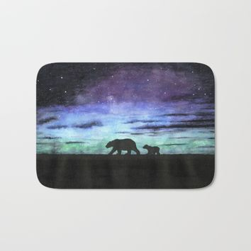 Aurora borealis and polar bears (black version) Bath Mat by Savousepate