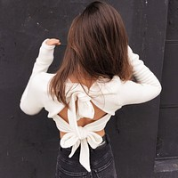 Open Back Bowknot Cut Out Pure Color Long Sleeves Crop Sweater