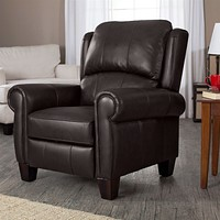 Top Grain Leather Upholstered Wingback Recliner Club Chair in Chocolate Brown