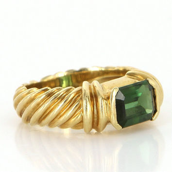 Estate David Yurman 18k Yellow Gold Green Tourmaline Cable Ring Jewelry Size 5