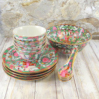 Vintage Chinese Dim Sum Set for Five, Rose Medallion Style, Japanese Porcelain Ware, Hand Decorated in Hong Kong