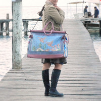 Bon Voyage Weekender Travel Bag - Leather, Vintage Embroidery and Linen