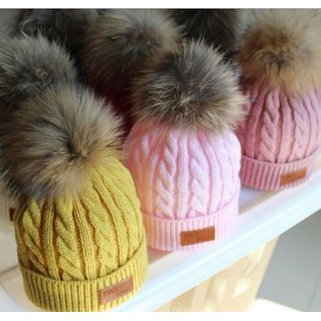 Fashion Autumn Winter Warm Baby Hat Cap Knitted Wool Children Caps Infant Girls Hemming Hat Beanies Photo Props