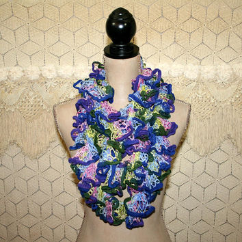 Handmade Infinity Scarf Lace Ruffle Scarf Hippie Boho Long Scarf Purple Blue Pink Green Womens Scarves Chenille Novelty Scarf Knit Crochet