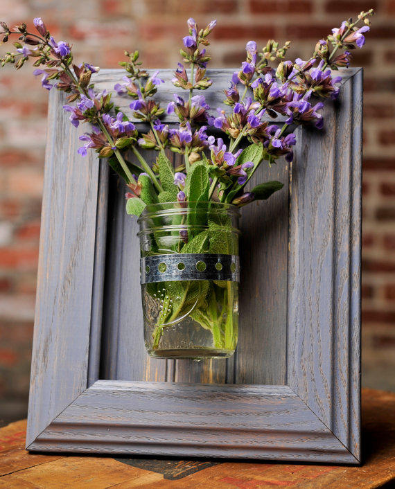 Wall Sconces That Hold Flowers: Framed Mason Jar Wall Sconce Pale Blue From
