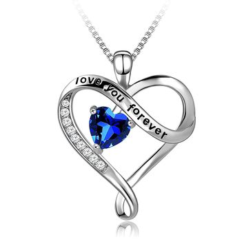 """Necklace,925 Sterling Silver """"Love You Forever"""" Blue Heart Pendant Necklace with 5A CZ Long Way Fine Jewelry for Women, Best Gift for Mother Wife Girlfriend at Christmas Birthday"""