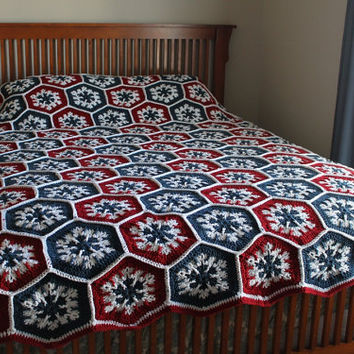 Afghan- Handmade Queen Hexagon Crochet Blanket - Americana