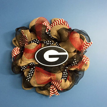 College Wreath, Burlap Wreath, Georgia Bulldog Wreath, Front Door Decoration, Black and Red Wreath