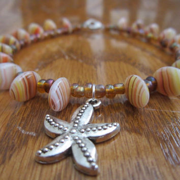 Pewter Starfish Charm Anklet with Amber Czech Glass and Brown Glass Seed Bead Accents