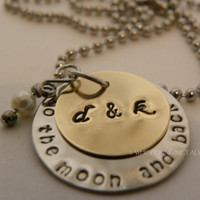 Metal stamped necklace brass and silver To The Moon And Back with initials