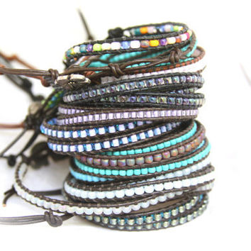 Seed Bead Leather Wrap Bracelet You Choose Two. Discount Two Pack Triple Beaded Wrap Bracelet Fashion Jewelry Handmade on Maui, Hawaii