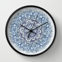 Indigo Medallion with Butterflies & Daisy Chains Wall Clock by Micklyn
