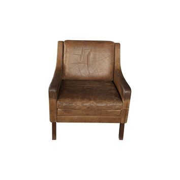 Pre-owned Vintage Brown Club Chair with Natural Distressing