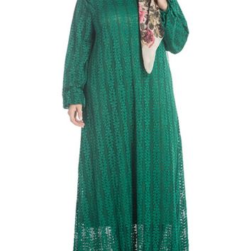 Streetstyle  Casual Loose Solid Lace Round Neck Plus Size Maxi Dress