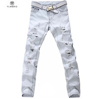 Large Size 42 Men Jeans Ripped Loose Hip-hop Cotton Jeans Men ripped Designer Brand White Jeans For Boy  40 New Arrival