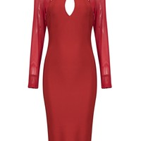 Honey Couture KIARA Red Long Sleeve Mesh Cut Out Detail Midi Bandage Dress