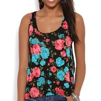 Floral Print High Low Tank Top with Lace Racerback