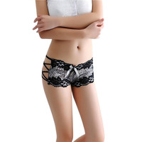 Newly Design Women Sexy Lingerie Underwear Lace Hollow Bowknot Panties Bodyshort 160622