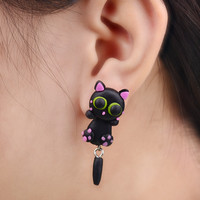2015 Fashion 100% Handmade Polymer Clay Lovely Cat Stud Earring For Women Animal Earrings Fine Jewelry Girl Earring 1 pair 4113