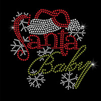 Christmas Rhinestone Transfer - Santa Baby - DIY Iron On ChristmasRhinestone Transfer