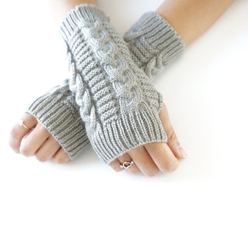 Gray Fingerless Gloves Soft Fingerless Mittens Arm Warmers Hand Knit Womens Accessories