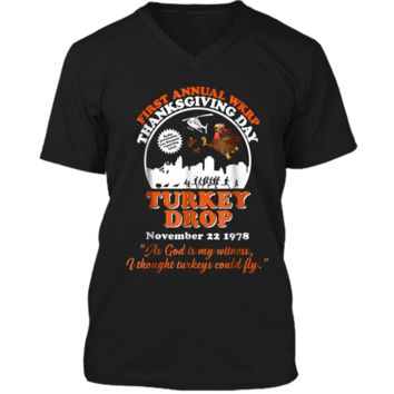 First annual WKRP Turkey Drop with Les-Nessman Funny  Mens Printed V-Neck T