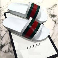 Gucci Stylish Classic Women Men Casual Simple Red Green Stripe Sandal Slipper Shoes White I