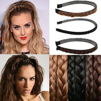 1PC Vintage Twisted Wig Headband For Women Wedding Hair Bands Hairband Plaited Braided Hair Accessories