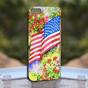 America Flag Vintage Painting - Design available for iPhone 4 / 4S and iPhone 5 Case - black, white and clear cases