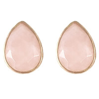 Pink Marble Teardrop Stud Earrings