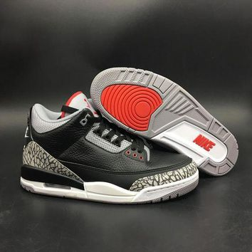 DCCK9ME Nike Air Jordan Retro 3 OG Black Cement Men and Women Basketball Sneakers Sports Shoes