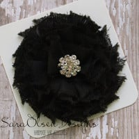 Rosette Hair Clip, Black, Swirl Chiffon Flower, Flower Hairbow, Frayed Chiffon Hairclip, Children's Hair Accessories, Girls Hairbow