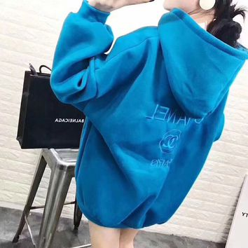 """Chanel"" Women Simple Sport Casual Letter Embroidery Long Sleeve Hooded Sweater Tops Hoodie Sweatshirt"