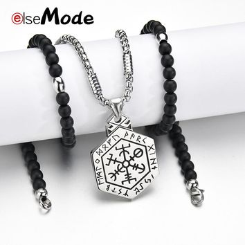 ELSEMODE Viking Icelandic Helmet Horror Runic Circle Pendant Necklaces Stainless Steel Compass Rune Amulet Collier Men Necklace